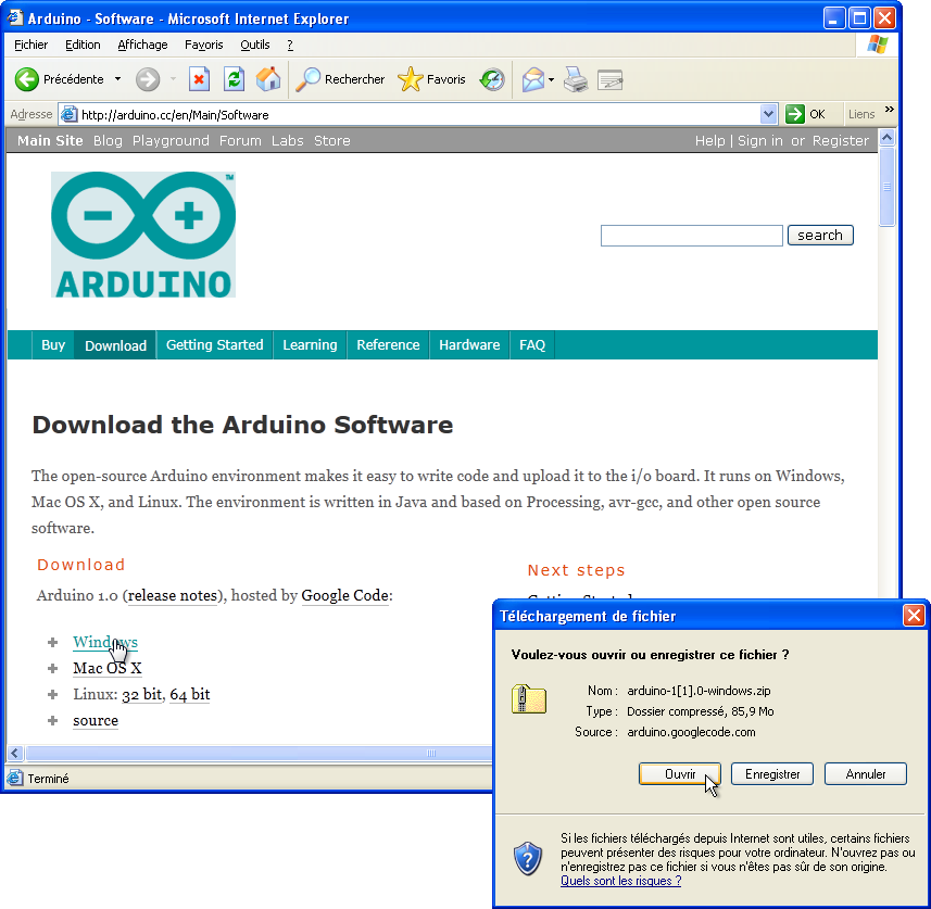 arduino download for windows xp