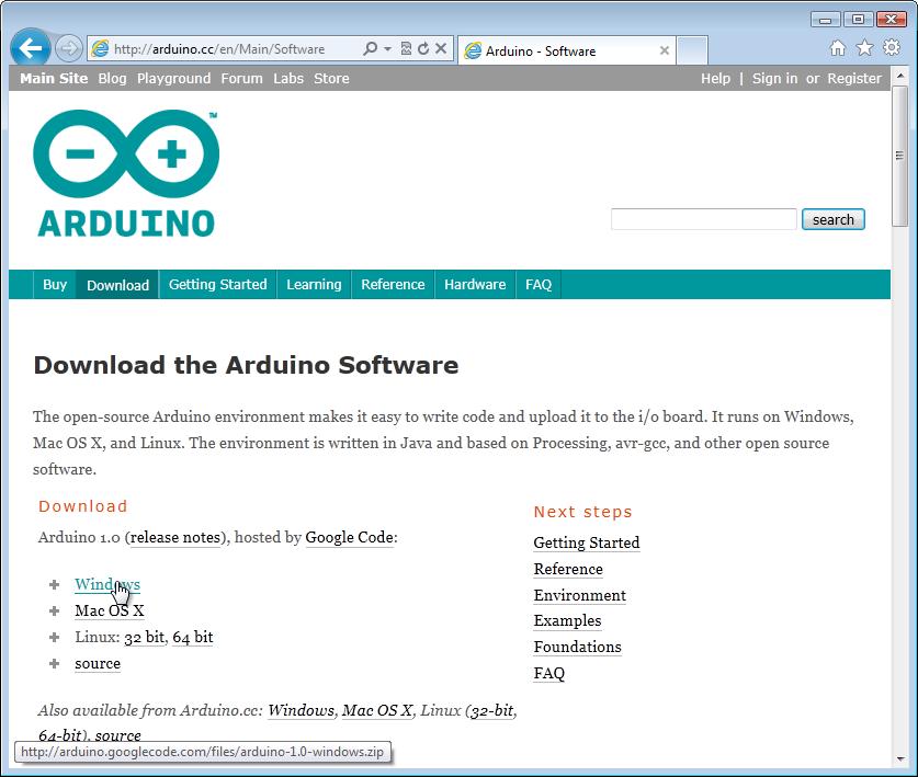 Arduino software download windows vista