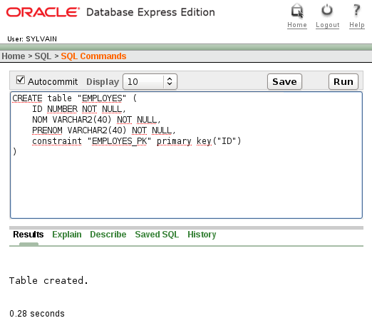 Installer oracle xe chicoree for Table design oracle